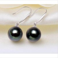 Wholesale Strands Tahitian Black Pearls - a pair of natural 11-12mm tahitian black green pearl earrings 14K White Gold