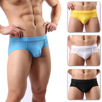 Wholesale Men S Acrylic Briefs - Men Briefs Brands Sexy Low Waist U Convex Bulge Pouch Briefs Men's Acrylic Mesh Brief Underwear 4 PCS Nylon Bikini Briefs