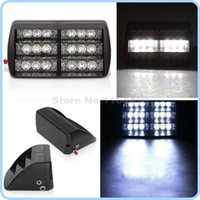 3 modos de destello 18 LED coche de emergencia vehículo Flash Strobe advierten luces lámpara 3LED x6 18LED para Parabrisas Dashboard - Blanco