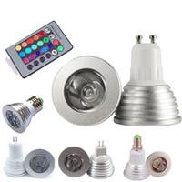 Wholesale mr16 rgb bulb online - 3W RGB LED Bulb Lights Color Changing AC85 V E27 GU10 E14 GU5 DC AC12V MR16 with Key IR Remote Control