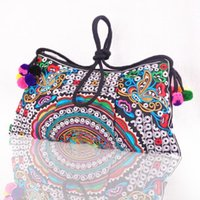 Wholesale Ethnic Bags - Wholesale-National Ethnic Embroidered Bags Double Face Embroidery Bag Unique Shoulder Messenger Bag Women's Day Clutch Small Handbag