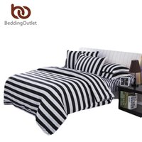 Wholesale Black White Quilts - Wholesale- New Arrival Striped Bedclothes White And Black Quilt Cover Super Soft Printed Bedding Set 3pcs Or 4pcs Wholesale