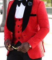 Wholesale Mens Red Vest Tie - Red Prom Tuxedos Mens Floral Blazer Designs Groomsmen Big Shawl Lapel Men Suit Custom Made Wedding Tuxedo Jacket(Jacket+Pants+Vest+Bow Tie)