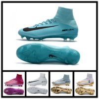 Wholesale Cr White Soccer Shoes - 2017 New Mercurial Superfly Soccer shoes CR 7 mens top assassin line compilation FG football waterproof Soccer Cleats Size 38-45