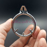 Wholesale Penis Delay Ring S - S M L Size Stainless Steel Cock Ring Male Chastity Device With Thorn Metal Penis Delay Ring Cock Cage Adult Sex Toys For Men Gay
