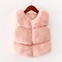 Wholesale Kids Sleeveless Faux Fur Vest - Kids Children's Fashion Fur Vest Baby Girl's Fur Waistcoat Winter Very Warm Sleeveless Jacket 2 Colors