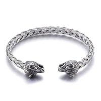 ingrosso catena di filo d'argento-Argento Bracciale in acciaio inox Bracciale testa di lupo Bracciale nodo aperto Fine catena di filo