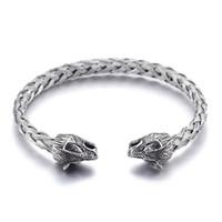 ingrosso braccialetto d'argento del lupo-Bracciale rigido in acciaio inossidabile argento Testa di lupo motociclista Estremità aperta Nodo del braccialetto Catena di filo