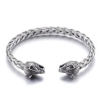Wholesale wire bracelet cuff - Silver Stainless Steel Cuff bangle Biker wolf head End Open Bracelet knot Wire chain