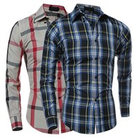Wholesale Wholesale Slimming Products - Wholesale- 2016 New Product Man's Fashion Fall Winter Casual Plaid Shirt Long Sleeve Slim Fit Flannel Clothes Shirts