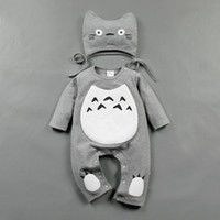 Wholesale Totoro Clothes - Totoro Boys Girls Baby Jumpsuits Clothing Sets Cotton Rompers + Cap 2Pcs Set Spring Long Sleeve Toddler Bodysuit Infant Onesies Clothes Suit