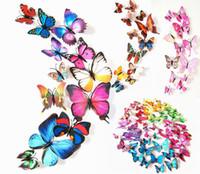 artes de la pared de la mariposa al por mayor-3D mariposa 12 unids decoración de la pared pegatinas de pared de mariposa de simulación magnética decoración del hogar calcomanías de arte extraíble PVC nevera refrigerador decoración