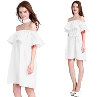 Summer Fashion Off the Shoulder Dress Womens Dresses Nuovo arrivo Clubwear Pink Off The Shoulder Skater Dress Miniabito bianco Maxi Beach
