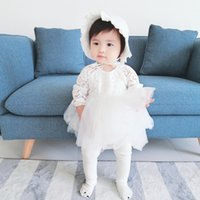 Wholesale Girls Long Sleeved Lace Dress - INS NEW arrival Girls Kids long Sleeve o-neck lace hollow out romper dress + hats causal 100% cotton girl fall elegant casual girl dress