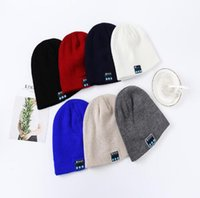 Wholesale Mp3 Skull Music - Bluetooth Music Hat Soft Warm Beanie Cap with Stereo Headphone Headset Speaker Wireless Microphone for man support for iphone ipad MP3 ipod