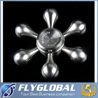 Wholesale Ego Bag Set - 2017 Hot Hand Fidget Spinners Aluminum Bronze Six Leaf Spiners With EGO Bag Anti-Anxiety Metallic Decompression Toys Free DHL