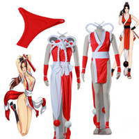 Wholesale Mai King Fighters - HOT Sexy The King Of Fighters Mai Shiranui Cosplay Costumes Full Set Any Size High Quality with Accessories Custom Made For Girl