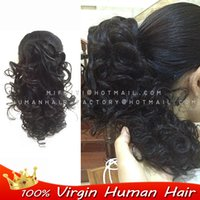 Wholesale people clips - Wholesale-Remy Brazilian real hair extension Deep wave curly Claw Clip Drawstring Ponytail 100%people Hair ponytails clips in on extension