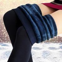 fleece-leggings für frauen großhandel-Frauen Winter Warme Leggings Elastische Hohe Taille plus Samt Dicke Künstliche Dünne Stretchhosen Dicke Frauen 8 Farben