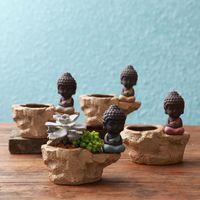Wholesale flower pottery - Creative Tea Pet Violet Arenaceous Coarse Pottery Young Monk Classical Lovely Zen Furnishing Articles Fleshy Ceramic Flower Pot Vase 32