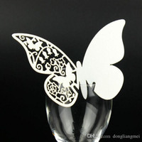 wholesales for cutlery Canada - 120pcs hallow Laser Cut Butterfly wedding Place Card hold on Wine Glass Card for Wedding Party Decoration #z110 marti