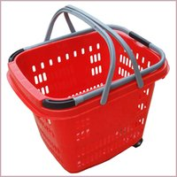 Wholesale best selling plastic shopping basket with wheels folding shopping basket small supermarket basket factory price the size mm