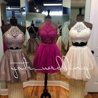 Wholesale white halter shorts resale online - 2018 Popular Two Piece Homecoming Dresses Jewel Halter Lace Tulle Criss Cross Back Brown Hot Pink Beige Short Prom Dresses Party Dresses