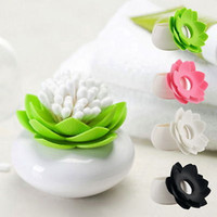 Vente en gros - Mignon Lotus Flower Shape Vase Cotton Bud Holder Toothpick Case Coton Swab Box