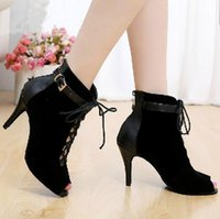 Wholesale Latin Dance Shoes Brands - Brand women's Black Purple velvet Genuine leather Latin dance boots high heels Party Spot zipper on back shoes