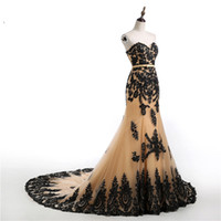 Wholesale Black Gold White Wedding Dress - Mermaid Black Gold Gothic Wedding Dresses 2017 Sweetheart Lace-up Lace Appliques Tulle Colorful Wedding Gowns Non White Robe De Mariee