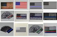 Wholesale Car Flag Usa - 300pcs 12 designs 6.5*11.5 CM American USA Flag Car Sticker Thin Blue Line USA Flag Black White And Blue Flag US banner flags G145
