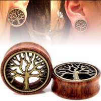 Wholesale Expanders Ears - 1pair Wooden Ear Tunnels Plugs Buddha Gauge Expanders Tree Of Life Ear Taper Stretcher Piercing Body Jewelry 18mm