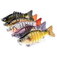 крючки пластмассовые оптовых-5-цветный 10см 15.5g Многосекционный Рыба Пластиковые Жесткие Приманки Приманки Рыболовные Крючки Рыболовные Крючки 6 # Крючок Искусственные Приманки Песка Рыболовные Снасти