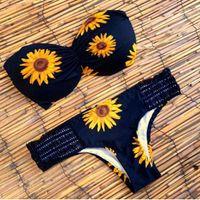 Wholesale Black Swimsuit One Piece Strapless - 2017 new sunflower strapless women beach swimsuit sexy triangle bra two piece swimwear for women free shipping
