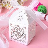Wholesale Chinese New Year Decorations Box - DIY Wedding gift box Heart Laser Cut Candy Favor Boxes With Ribbon for Wedding Party Table Decoration