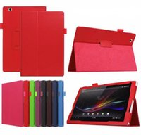 Wholesale z2 tablet online - Fold Stand Litchi PU Leather Smart Cover With Pen Holder Auto Sleep Wake UP Flip Case for inch Sony Erisson Xperia Tablet Z Z2 Z3 Z4