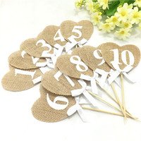 Wholesale Rustic Wedding Table Numbers - Wholesale- 10 pieces Burlap Hearts Flags Wedding Table Numbers 1-10 Rustic Table Decoration Wedding Decoration AA8067