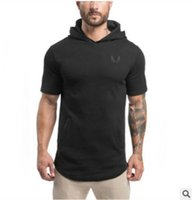 Wholesale Slim Muscle Men - Free Shipping US Size M-2XL High Quality The muscle brothers' spring summer 2017 men's hooded hoodie with a short sleeve T-shirt