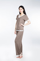 Wholesale Wholesale Pajama Sets Women - 100% Lenzing Modal Women Pajama Sets Gray Lady Pajamas Nightgowns Robe Women's Nightgown Cotton Nightwear Long Sleeve Sleepwear