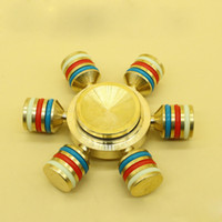 Wholesale Toy Hand Make - Diy made Six angle gyro Luminous Hand Spinner Fidget Toy brass Material For Relieving Stress, Anxiety, Boredom
