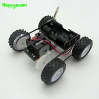 Wholesale Driving Wheel - Happyxuan DIY Technology Science Kits Electric Four-wheel Drive Assembly Model Early Education Scientific Experimental Gear Toy