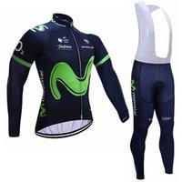 Wholesale Long Bib Movistar - 2017 movistar cycling jersey long cycling clothes mountain bike jersey wear long sleeve bib set cycling clothes China