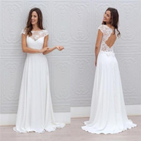 Wholesale simple sexy chic wedding dresses for sale - Group buy 2019 Jewel Neck Simple White Beach Wedding Dresses A Line Backless Floor Length Chic Cap Short Sleeves Bridal Gowns cheap