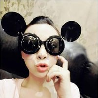Wholesale Trend Glasses Styles - Wholesale-Fashion Trend Retro Lady Sunglasses Style Celebrity Round Glasses Circle Flip Up Mickey Shade Sunglasses