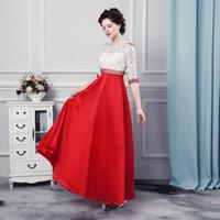 Wholesale little black dress lace top - Long Party Dress Abiti Da Cerimonia Donna 2017 Top Lace Floor Length Prom Dress Elegant Evening Dresses with Peals