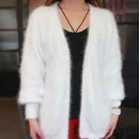 chaqueta de piel de visón de punto xl al por mayor-T Show Genuino Mink Cashmere Suéter Mujeres Cachemira Cardigan de Punto Chaqueta de Visón Puro Largo Abrigo de Piel Personalizado Envío Gratis