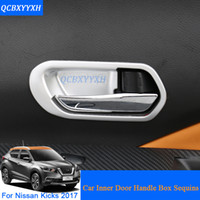 Car Styling 4pcs / lot ABS Inner Door Handle Box Sequin Para Nissan Kicks 2017 Decorações Internas Adesivos Auto Interior Frame