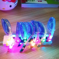 Wholesale Usb Flat Cable Smile - 1M 3FT Flat Smile Face Cords LED Colorful Micro USB V8 Charger Cable for Data Light Up Flash For Android