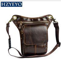 Wholesale Thigh Pack Waist Belt - HZYEYO Men's Cowhide Oil Wax Geunine Leather Travel Motorcycle Messenger Shoulder Hip Belt Fanny Pack Waist Thigh Drop Leg Bag