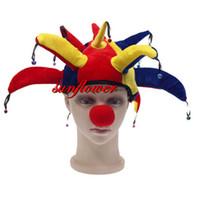 Wholesale Carnival Clown Hat - Wholesale-Unisex Jester Hat & Bells Fancy Dress Adult Accessory Funny Clown Carnival Fun